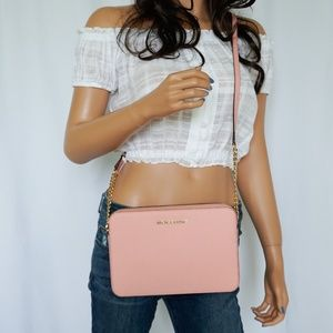 Michael Kors Jet Set Xbody Leather Bag Pale Pink